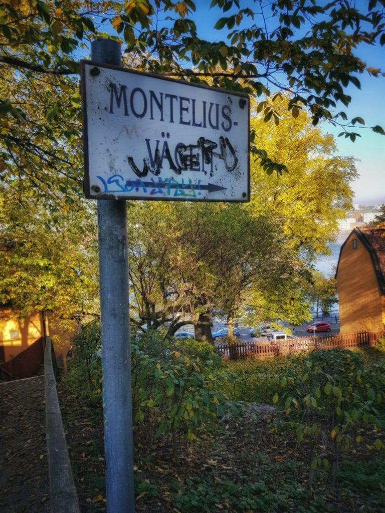 Skylt som visar vägen till Monteliusvägen