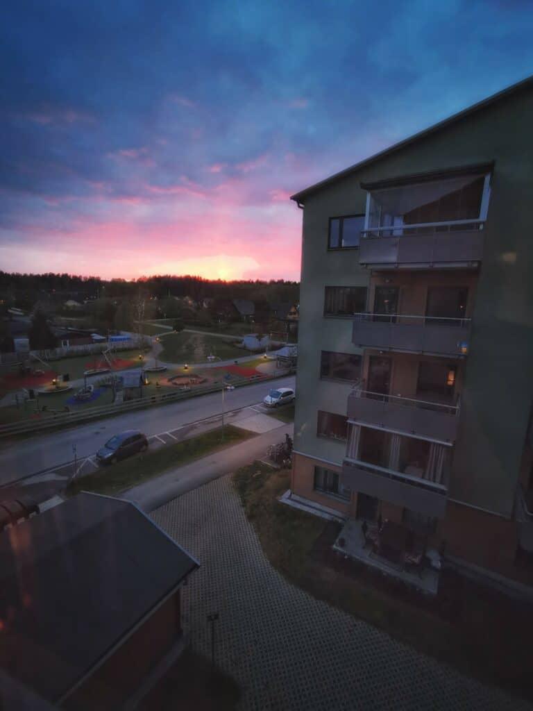 Solnedgång från balkong