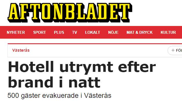 Skärmklipp från Aftonbladets artikel om branden på Steam Hotel.
